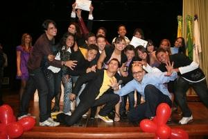 Jovens atores e roteristas acreanos no encerramento das produções Curta Jovens, no 2010. Auditório UFAC